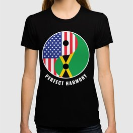 USA Jamaica Ying Yang Heritage for Proud Jamaican American, Biracial American Roots, Culture, T-shirt