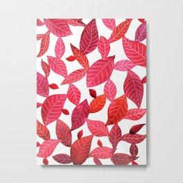 Red Leaves Pattern Metal Print