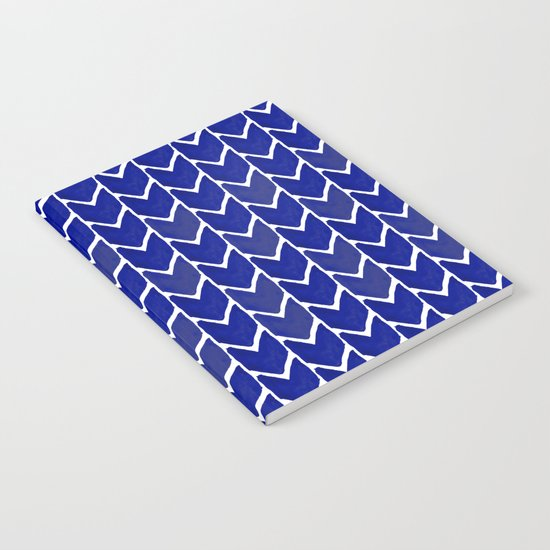 Chevron indigo blue painting watercolor abstract minimal modern brushstrokes painterly decor dorm Notebook
