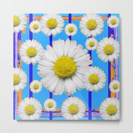 Modern Art Blue Shasta Flowers Pattern Metal Print