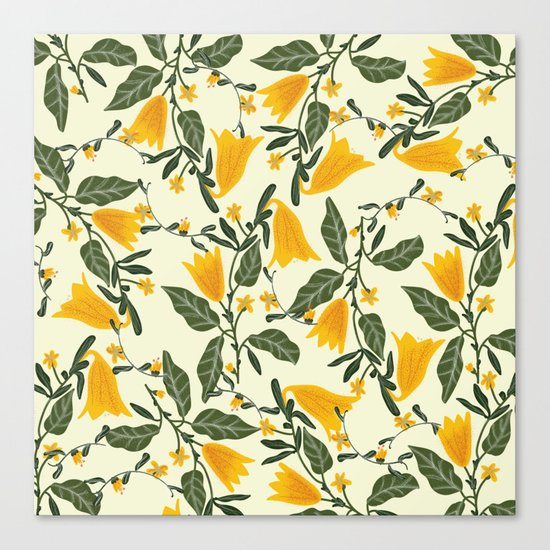 Yellow Bright Flower Pattern Canvas Print