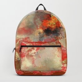 White Flower in Red Decoration Backpack
