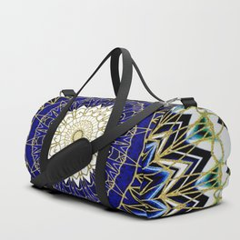 Bohemian Bright Blue and Gold Mandala Duffle Bag