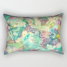 Watercolor Explosion Painting Rectangular Pillow