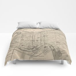 Vintage Map of New Orleans Louisiana (1885) Comforters