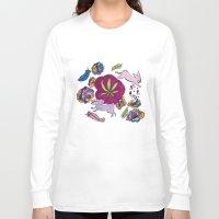cannabis Long Sleeve T-shirts featuring Cannabis Bunnies by Ri 13