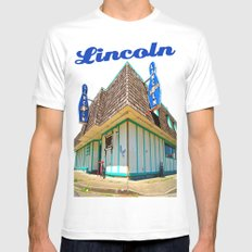 Lincoln Bowling Alley MEDIUM White Mens Fitted Tee