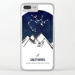 Astrology Sagittarius Zodiac Horoscope Constellation Star Sign Watercolor Poster Wall Art Clear iPhone Case