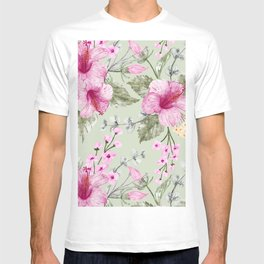 Shabby Chic Watercolor Hibiscus Pattern T-shirt