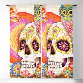 Sugar Skull with Owl Art - Day of the Dead Skull Art by Thaneeya McArdle Blackout Curtain