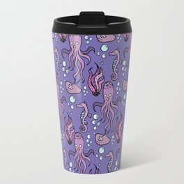 Purple sea creatures pattern Travel Mug