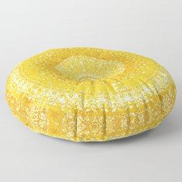 Golden Yellow Tapestry Mandala Floor Pillow