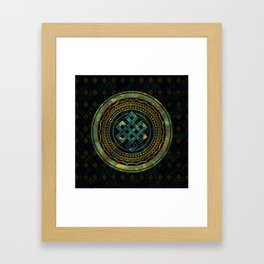 Marble and Abalone Endless Knot  in Mandala Decorative Shape Framed Art Print