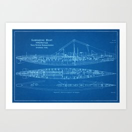 H.M.S. Nautilus Submarine - Blueprint Art Print