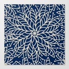 Modern navy blue ivory hand painted floral mandala Canvas Print