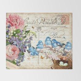 Vintage Postcard with Bluebirds Throw Blanket
