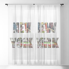 New York (typography) Sheer Curtain