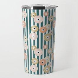 Delicate flowers on stripes Travel Mug