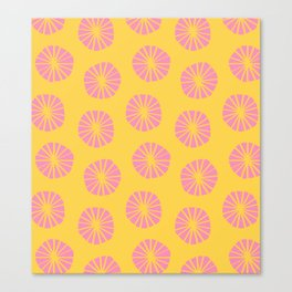 Mod Scandinavian Dandelions in Yellow + Pink Canvas Print