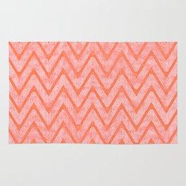 Salmon Color Faux Velvet Zigzag Pattern Rug