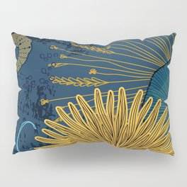 Navy floral background Pillow Sham