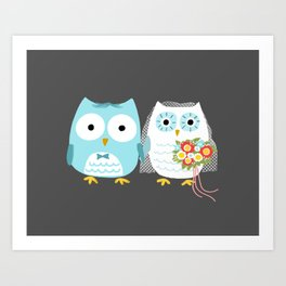 Owls Wedding Day   Bride and Groom Art Print