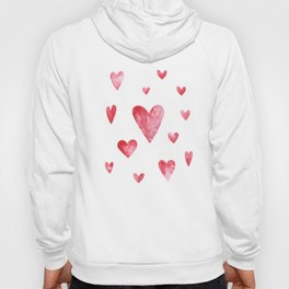 Watercolor print with hearts Hoody