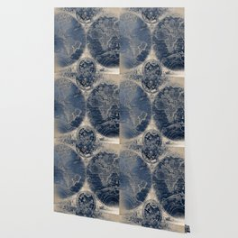 Antique World Map Gold Navy Blue Library Wallpaper