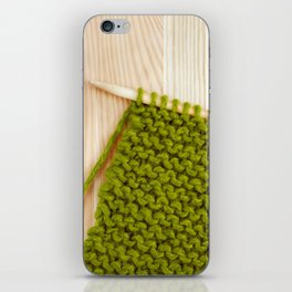 Moss green knitting and ball of wool iPhone Skin