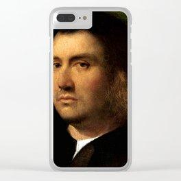 """Giorgione (Giorgio Barbarelli da Castelfranco) """"Portrait of a Man"""" Clear iPhone Case"""
