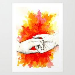 Inky hands5-Love Art Print