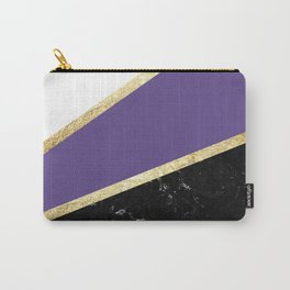 Ultra Violet, White, Black Marble and Gold Stripes Glam #1 #minimal #decor #art #society6 Carry-All Pouch