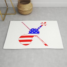 Stars And Stripes Fiddle Silhouette Rug