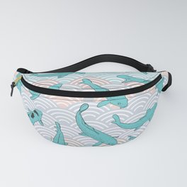 Koi carp. Blue fish. Asian wave circle background Fanny Pack