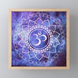 Om Mandala Purple Lavender Blue Galaxy Framed Mini Art Print