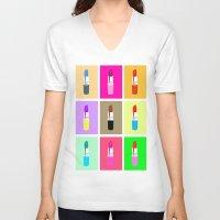 lipstick V-neck T-shirts featuring Lipstick by Scout Garbaczewski