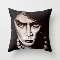 "rocky horror Throw Pillows featuring Rocky Horror Picture Show ""Sweet Transvestite"" by Kristin Frenzel"
