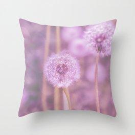 Romantik pink dandelion flower meadow Throw Pillow