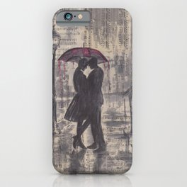 Silouette lovers on rainy street iPhone Case