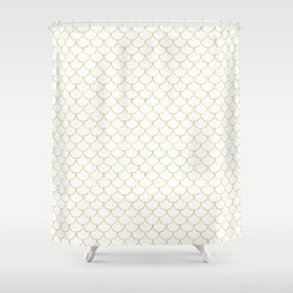Mermaid Scales in Gold Shower Curtain