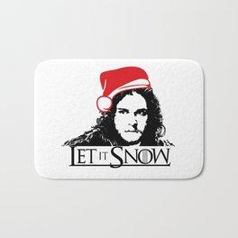 Let it Snow Santa Hat Christmas is Coming Bath Mat
