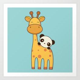 Cute and Kawaii Giraffe and Panda Art Print