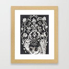 Three Moon Owls Framed Art Print