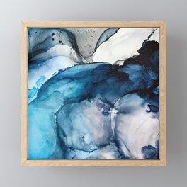 White Sand Blue Sea - Alcohol Ink Painting Framed Mini Art Print