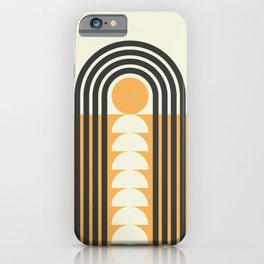Geometric Lines in Gold and Black (Rainbow and Sunrise Abstract) iPhone Case