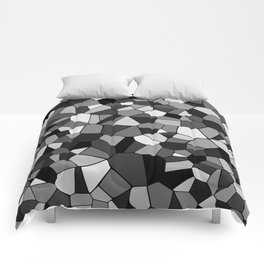 Black And Gray Monochrome Geometric Mosaic Pattern Comforters