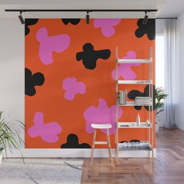 Grell 003 / A Dazzling 70's Pattern Of Black & Pink Spots Wall Mural