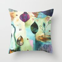 "flora bowley Throw Pillows featuring ""Abundance"" Original Painting by Flora Bowley  by Flora Bowley"