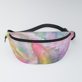 Spring feathers in Pink - abstract in Japanese watercolor and mineral pigments Fanny Pack