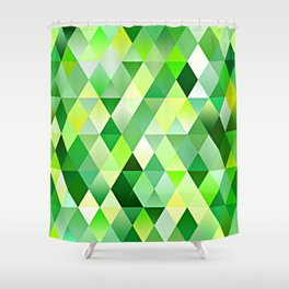 Lime Green Yellow White Diamond Triangles Mosaic Pattern Shower Curtain